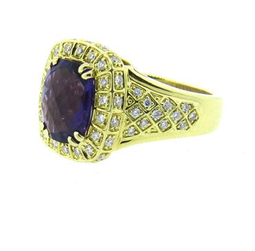 image of Charles Krypell Diamond Amethyst Gold Ring