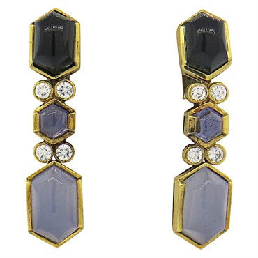 thumbnail image of Fine Chalcedony Iolite Onyx Diamond 18k Gold Earrings