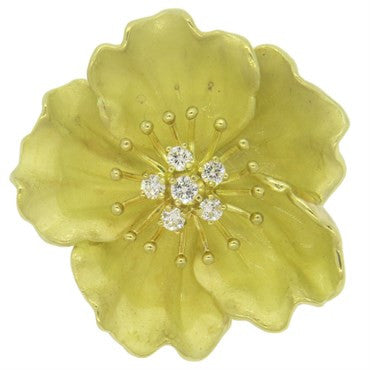 image of Tiffany & Co. Diamond 18k Gold Wild Rose Flower Brooch