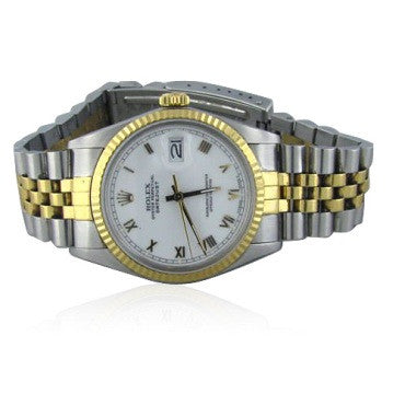 image of Rolex Datejust 18k Gold Steel Roman Dial Watch 16013