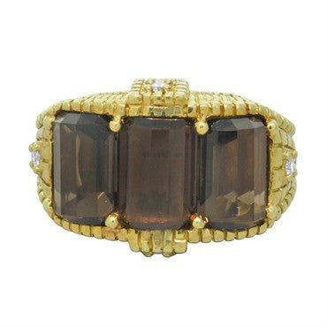 image of Judith Ripka 18k Gold Diamond Smokey Quartz Ring
