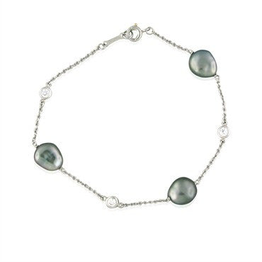 image of Tiffany & Co Elsa Peretti Platinum Keshi Pearl Diamond Bracelet