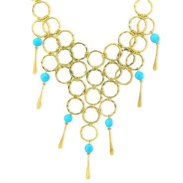 thumbnail image of Robert Lee Morris 18K Gold Turquoise Bib Necklace