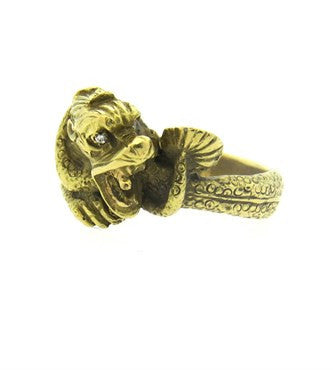 image of Gold Diamond Dragon Ring