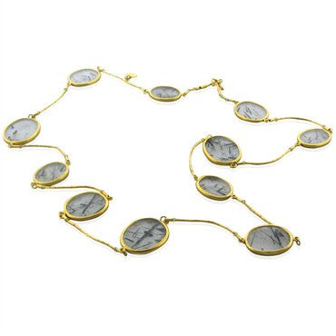 image of New Gurhan 24K Gold 113.05ct Rutilated Quartz Necklace
