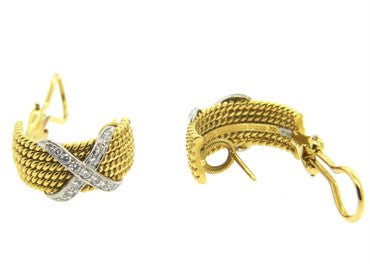 image of Tiffany & Co Jean Schlumberger Gold Platinum Diamond Rope Earrings
