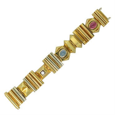 image of Giorgio Facchini Tourmaline Moonstone Diamond 18K Gold Bracelet
