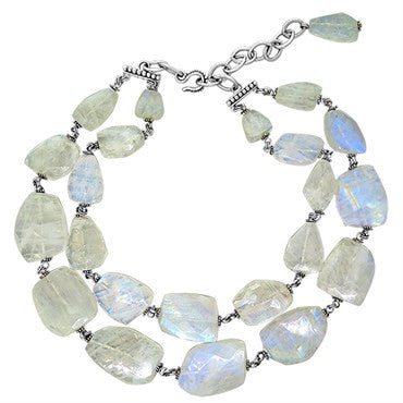 image of Stephen Dweck Sterling Silver Labradorite Double Strand Necklace