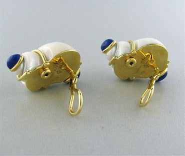 thumbnail image of Estate Seaman Schepps 18K Gold Lapis Seashell Earrings