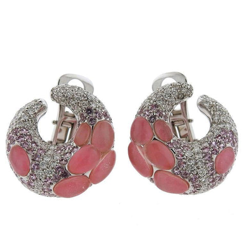 Porrati 18k Gold Diamond Pink Sapphire Earrings