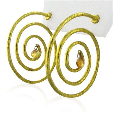image of New Gurhan 24K Gold Spiral Orange Sapphire Earrings