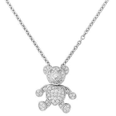 image of New Pomellato Orsetto 18k Gold Diamond Bear Pendant Necklace