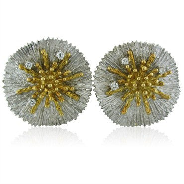 image of Asprey 18K Yellow And White Gold Diamond Earrings