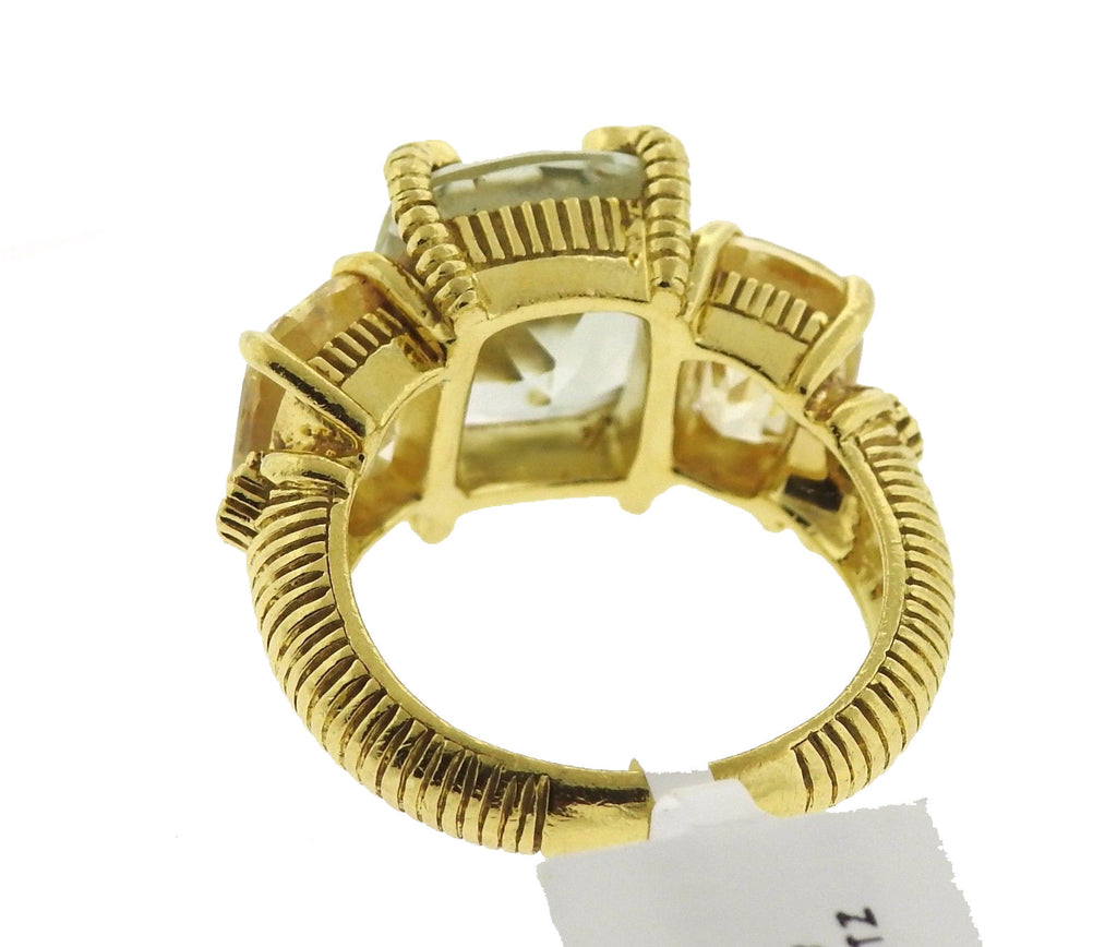 thumbnail image of Judith Ripka 18K Yellow Gold Quartz Diamond Ring