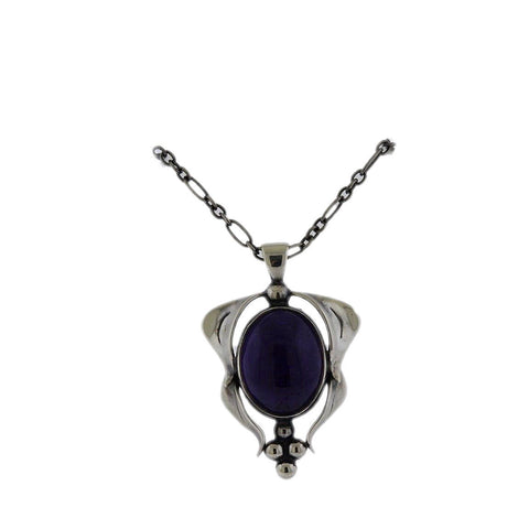 image of Georg Jensen Amethyst Sterling Silver Pendant Necklace