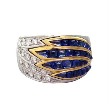 image of Gold Diamond Sugarloaf Cut Sapphire Ring