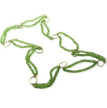 image of Slane & Slane 18K Yellow Gold Peridot Oval Link Necklace