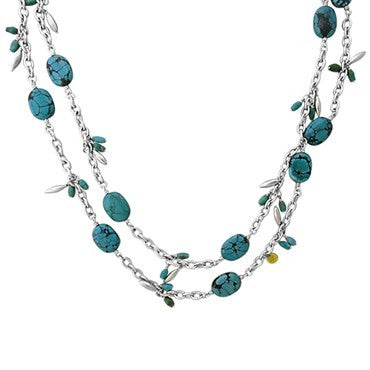 image of Gurhan Sterling Silver Turquoise Wheat Long Necklace
