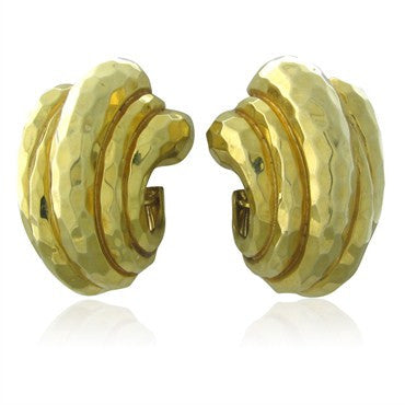 image of Large Henry Dunay 18K Gold Hammered Finish Earrings