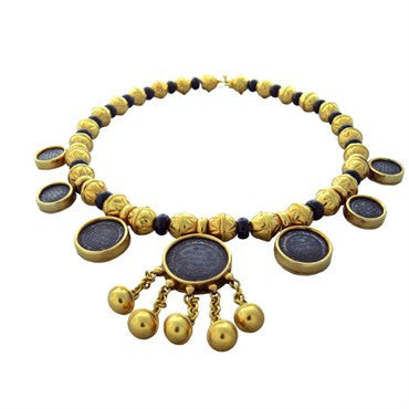 image of Marina B Bedouin 18k Gold Coin Onyx Necklace