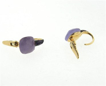 image of Pomellato Capri 18k Gold Lavender Jade Amethyst Earrings