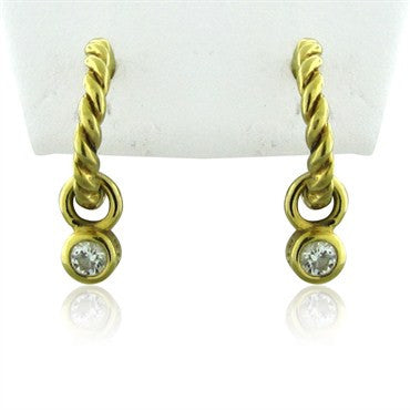 image of Estate Tiffany & Co 18K Yellow Gold Diamond Drop Earrings