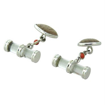 thumbnail image of Trianon Crystal Wood Coral Gold Cufflinks