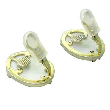 thumbnail image of Jean Vitau 18k Gold Mother of Pearl Diamond Earrings