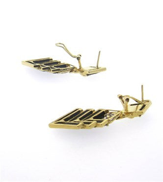 thumbnail image of Chic 1980s Onyx Diamond 14k Gold Drop Earrings
