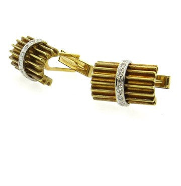 thumbnail image of Mid Century Diamond 18k Gold Cufflinks