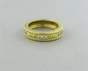 image of Estate Judith Ripka 18K Yellow Gold 0.18ct Diamond Band Ring