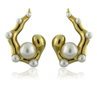 image of Seaman Schepps 18K Yellow Gold Pearl Earrings