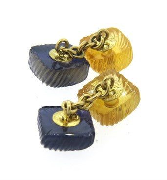 image of Seaman Schepps Carved Citrine Iolite Gold Cufflinks