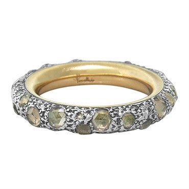 image of Pomellato Tango 18k Gold Sterling Rose Cut Fancy Diamond Band Ring