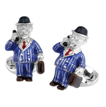 image of Deakin & Francis Sterling Silver Businessman Cufflinks