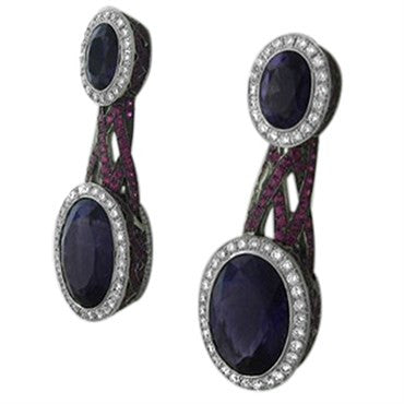 thumbnail image of Asprey 18K Gold 2.02ct Diamond 15.66ct Amethyst Sapphire Earrings