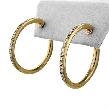 thumbnail image of Faraone Mennella 18K Rose Gold Diamond Hoop Earrings