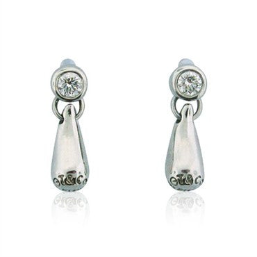 thumbnail image of Platinum Tiffany & Co Peretti Diamond Teardrop Earrings