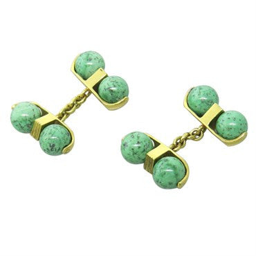 thumbnail image of Continental European Green Gemstone 18k Gold Cufflinks
