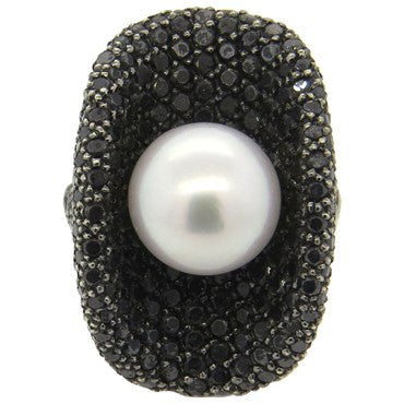 image of South Sea Pearl Black Diamond 18k Gold Cocktail Ring