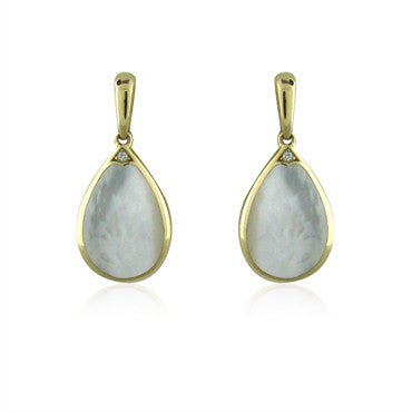 image of Kabana 14K Yellow Gold Diamond Mother Of Pearl Drop Earrings