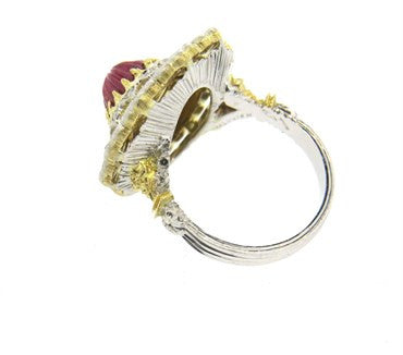 thumbnail image of Buccellati Carved Ruby Diamond Gold Ring