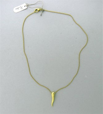 thumbnail image of New Pomellato 18k Gold Italian Horn Pendant Necklace