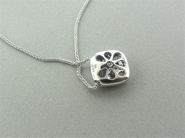 image of New Hearts On Fire Silk Pave Square Diamond Pendant Necklace