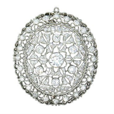 thumbnail image of Buccellati 2.50ctw Diamond Gold Brooch Pin Pendant