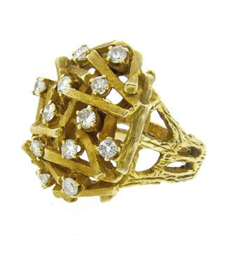 image of 1970s Sticks and Stones Diamond 14k Gold Dome Cocktail Ring