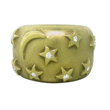 image of H Stern 18k Gold Diamond Moon and Star Dome Ring