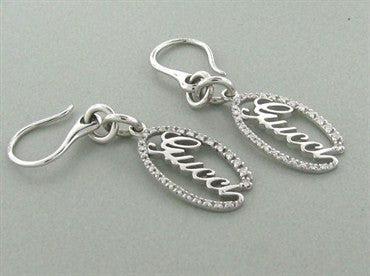 thumbnail image of Gucci 18K White Gold Diamond Drop Earrings