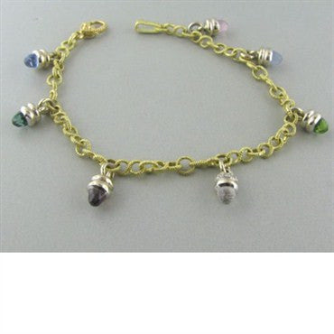 thumbnail image of Judith Ripka 18k Gold Diamond Gemstone Charm Bracelet