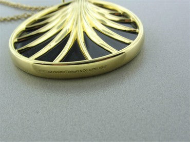 thumbnail image of Tiffany & Co Paloma Picasso 18K Gold Villa Paloma Palm Onyx Necklace